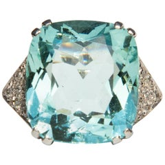 1960s Aquamarine and Diamond Ring