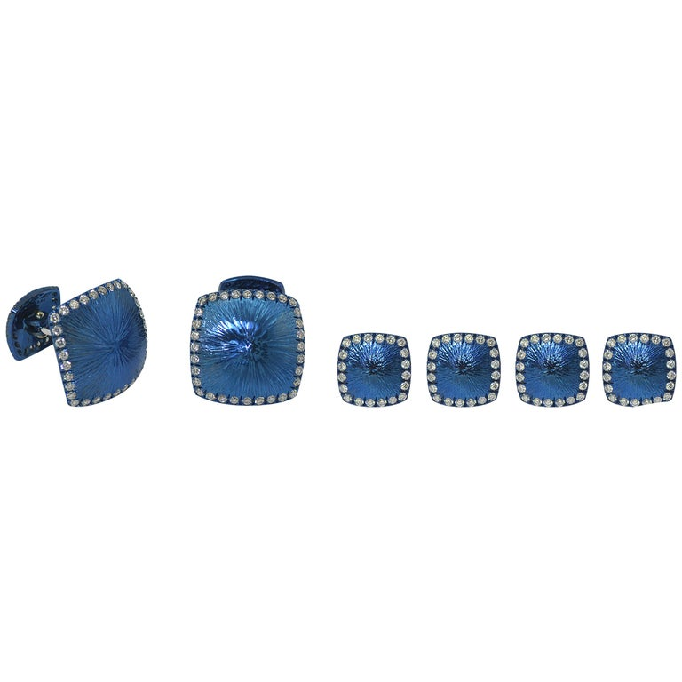 Margherita Burgener Diamond  Blue Titanium 18K Gold Dress-set  _ Cufflinks studs