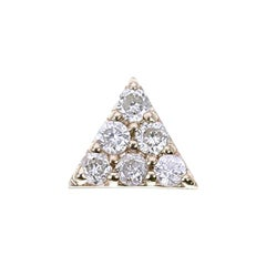 Zoe and Morgan Yellow Gold Mini Pyramid Diamond Single Stud Earring