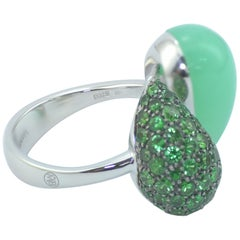 Margherita Burgener 18 Karat Gold Diamond Tsavorite Chrysoprase Ring