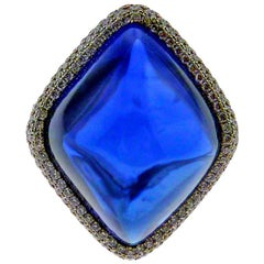38.53 Carat Sapphire and Diamond Platinum Ring