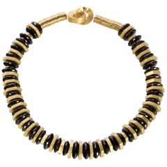 Beautiful Black Spinel and Gilded Silver Statement Necklace