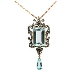Aquamarine Gold Diamonds Pendant Necklace