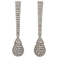 Pavé Diamond Set Platinum Pendant or Dangle Drop Earrings