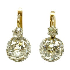 Edwardian circa 1905 Platinum and 18 Karat Gold Diamond Dormeuse Earrings