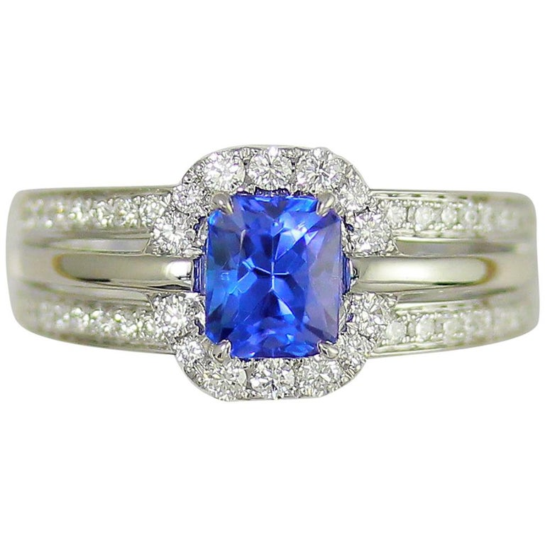 Frederic Sage 1.35 Carat Cushion Tanzanite and White Diamond One of a Kind Ring