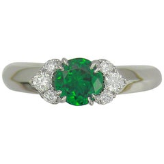 Frederic Sage 0.84 Carat Tsavorite and White Diamond One of a Kind Ring