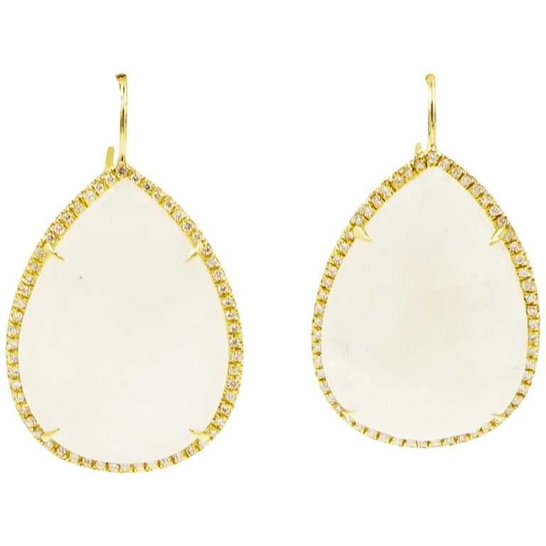 Pear Shaped Faceted Moonstone Drop Earrings