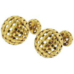 1990s Tiffany & Co. Gold Woven Cufflinks