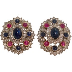 Blue Sapphire, Ruby and Diamond Two-Tone Gold Earrings with Retractable Posts