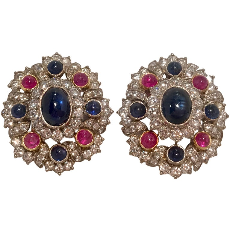 Blue Sapphire, Ruby and Diamond Two-Tone Gold Earrings with Retractable Posts For Sale