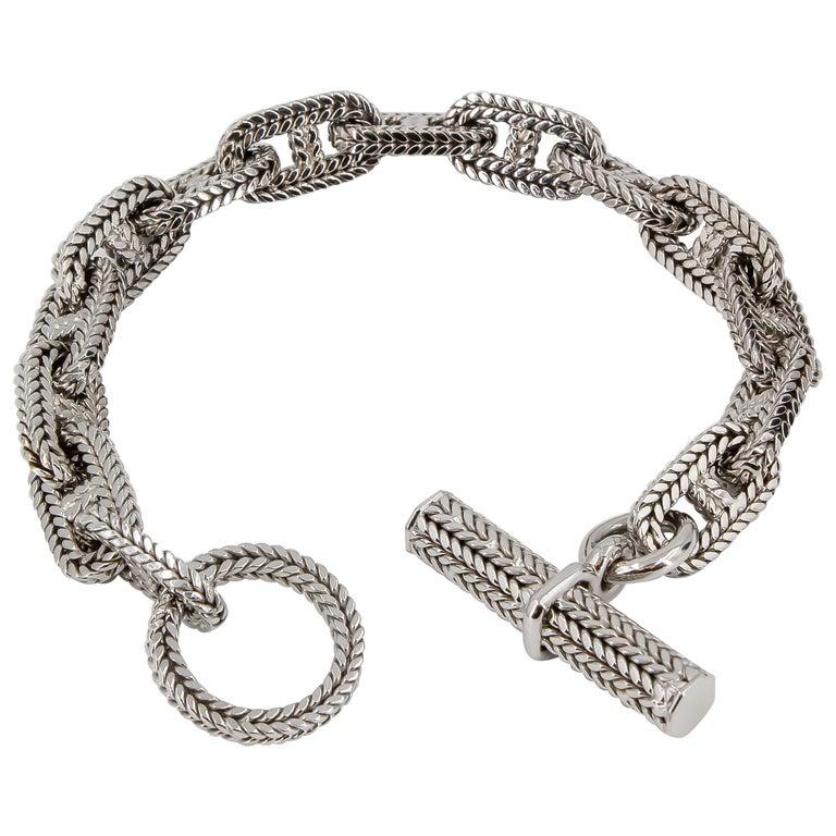 Hermès George L'Enfant White Gold Chaine D' Ancre Tresse Braided Link Bracelet For Sale