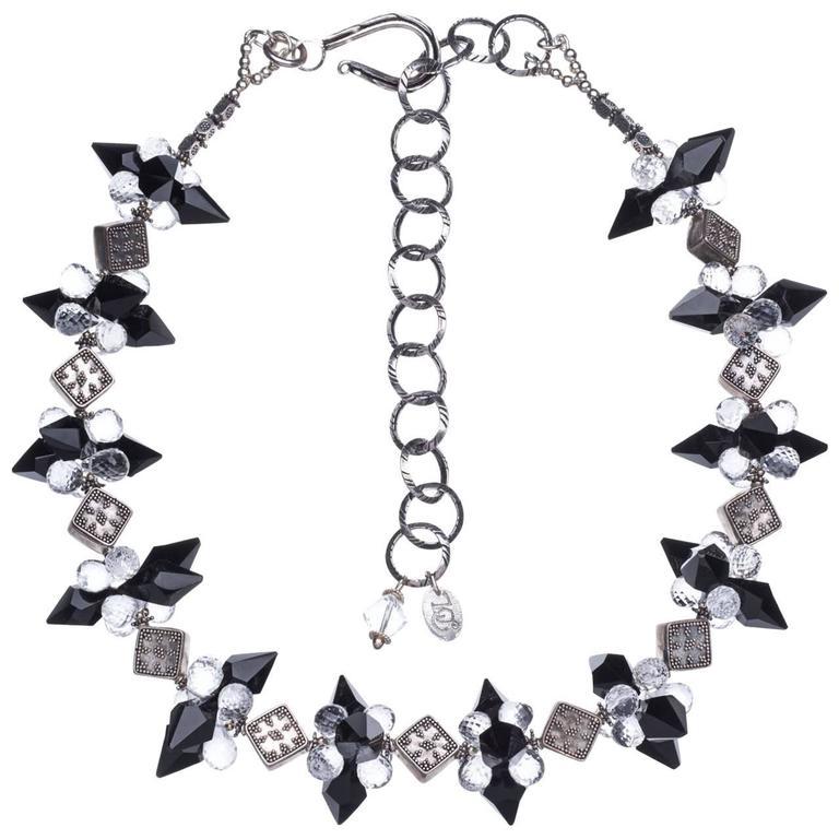 Deborah Liebman Crystal Quartz Onyx Sterling Silver Necklace