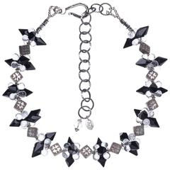 Deborah Liebman Crystal Quartz Onyx Sterling Silver Necklace