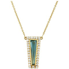 Theresa Kaz Jewelry London Blue Topaz & Diamond Halo Tapered Baguette Necklace