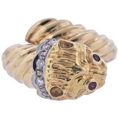 Lalaounis Greece Gold Diamond Ruby Chimera Ring