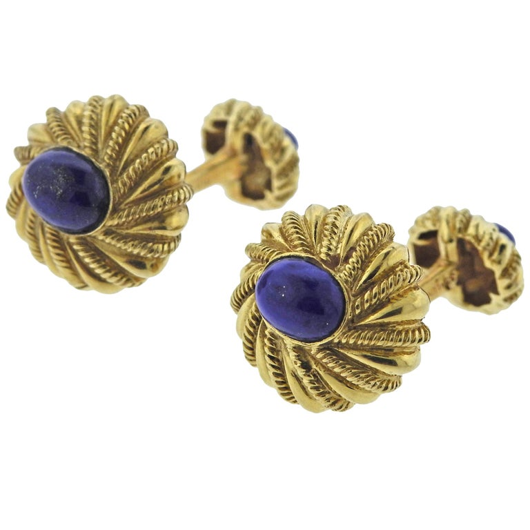 Tiffany & Co. Schlumberger Lapis Lazuli Gold Cufflinks