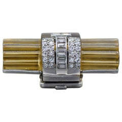 Cartier Paris Art Deco 1920s, Platinum, Diamond and Citrine Brooch