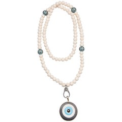 Clarissa Bronfman Ebony, Diamond, 14 Karat Gold, Turquoise 'Evil Eye' Necklace