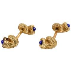 Tiffany & Co. Schlumberger Lapis 18 Karat Gold Cornucopia Cufflinks
