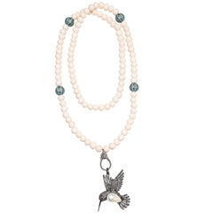 Clarissa Bronfman Bone, Diamond, Turquoise, Pearl 'Love Bird' Beaded Necklace