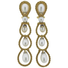 Buccellati Pearl Gold Drop Earrings