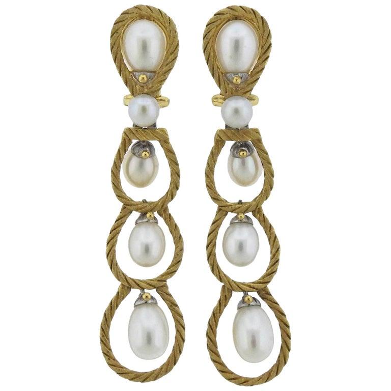 Buccellati Pearl Gold Drop Earrings