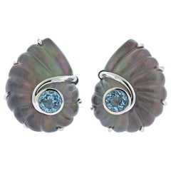 Trianon Nautilus Crystal Topaz Mother-of-Pearl Gold Earrings