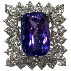 Large Rectangular Radiant Cut Tanzanite Double Diamond Halo White Gold Ring