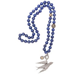 Clarissa Bronfman Lapis, Diamond, Rose Cut Diamond, and Silver Bird Necklace
