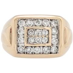 Men's 14 Karat Yellow Gold 1 Carat Diamond Right Hand Ring