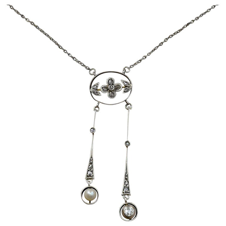 Art Nouveau Natural Pearl Diamond Drop Necklace Platinum Gold Lavalier Negligée