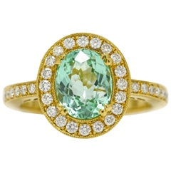 Paraiba Tourmaline Certified GIA 2.12 Carat Diamond Gold Ring Cocktail