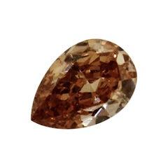 .24 Carat Natural Fancy Deep Brownish Yellowish Orange Pear Shape Diamond
