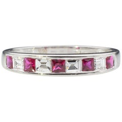 Ruby Diamond Baguette Half Wedding Band