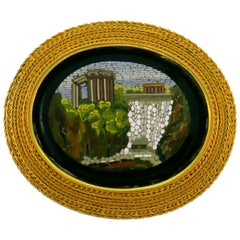 Victorian Micromosaics Yellow Gold Pin Brooch Clip Fitted Box Stamped WL Sweden