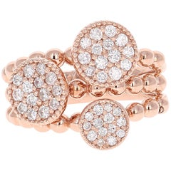 0.66 Carat Diamond Cocktail Ring 14 Karat Rose Gold