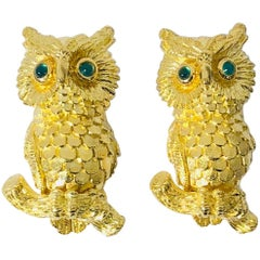 Kurt Wayne 18 Karat Owl and Emerald Cufflinks