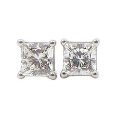 Celebration Princess Diamond Stud Earrings 0.98 TCW 18K White Gold w/Certificate