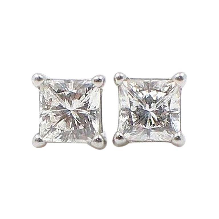 Celebration Princess Diamond Stud Earrings 0.98 TCW 18K White Gold w/Certificate For Sale