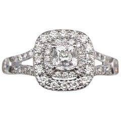 Celebration Cushion Diamond Ring Double Halo 1.20 Carat 18 Karat White Gold