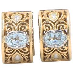 John Hardy 18K Yellow & White Gold Mini Huggie Hoop Earrings Aquamarine Oval Box