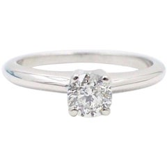 Brilliant Star Round Diamond Engagement Ring 0.53 Carat 14 Karat White Gold