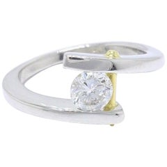 Tension Set Round Diamond Engagement Ring 0.50 Carat Platinum 18k Yellow Gold