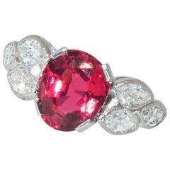 Platinum, Diamond and Fine Natural Spinel Ring
