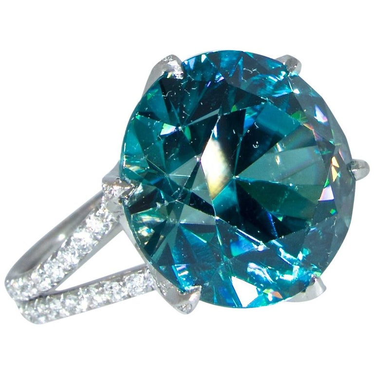 Fine Large Blue Zircon and Diamond Ring