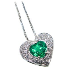 Heart Shaped Emerald and Diamond Pendant