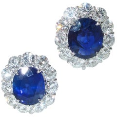 Fine Natural Blue Sapphire and Diamond Earrings