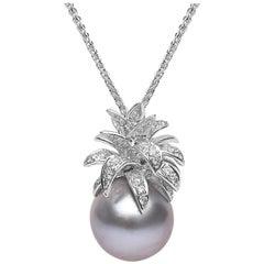 Yoko London Tahitian Pearl and Diamond Pineapple Pendant set in 18 Karat Gold