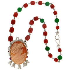 Cameo Gold Coral Pendant Necklace
